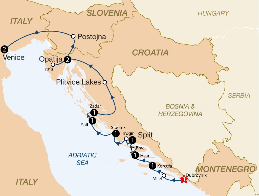 Adriatic classic croatia and italy 2018 dubrovnik venice itinerary map gumiabroncs Gallery