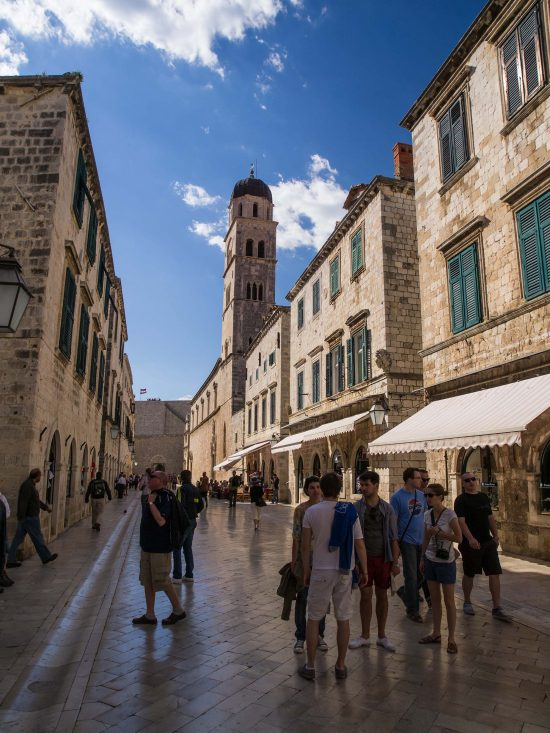 Walk along the historic Stradun in Old Town Dubrovnik