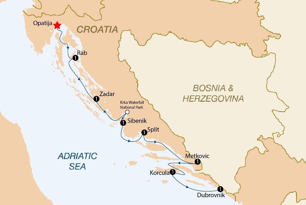 A croatian journey 2018 opatija dubrovnik cruise croatia itinerary map gumiabroncs Images