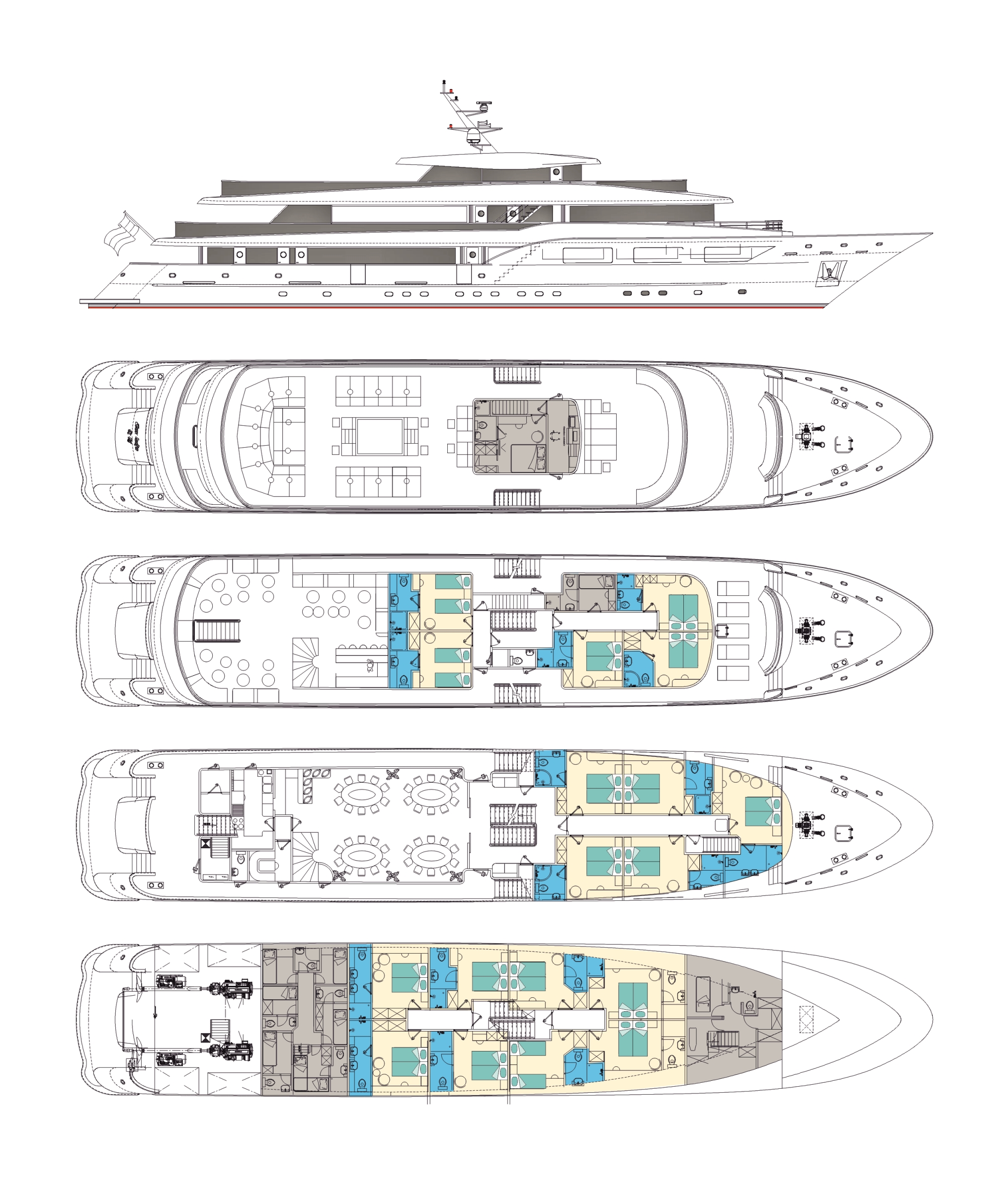Ms black swan cruise croatia for Deck plans for sale