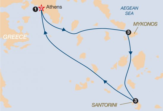 map of Island Hopping in the Cyclades (2 Islands) 2019 (Athens - Athens)