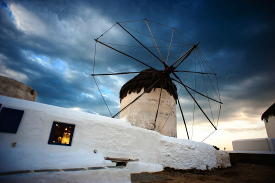 Against Greek skies, one of the Mykonos Island Windmills, Chora. Cyclades, Agean Sea, Greece.