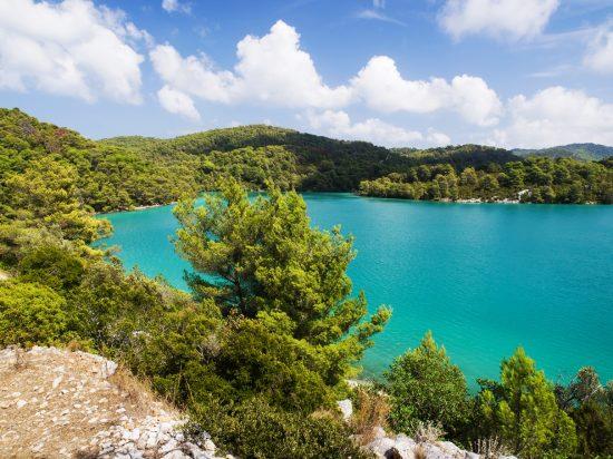 The beautiful blues of the lake at Mljet National Park