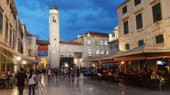 The Stradun and Dubrovnik Bell Tower at night, Old Town of Dubrovnik